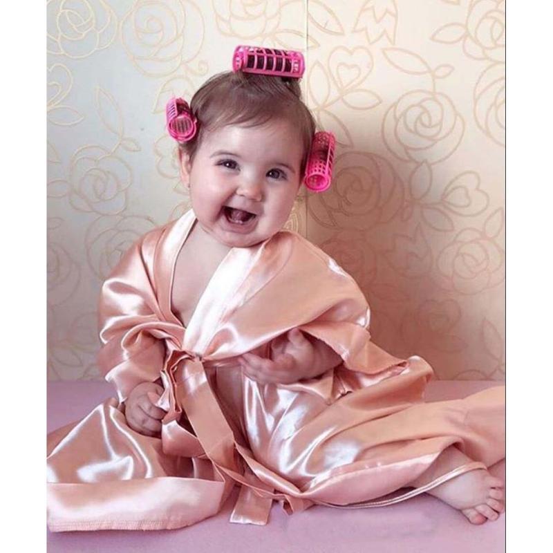 Toddler Bébé Baby Girls Peignoir De Sleep Heath Robes 2021Autumn Solide Manches à manches longues Silk Kimono Robe Pyjamas de nuit avec ceinture