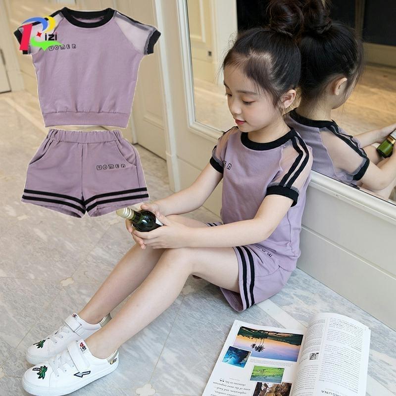 Mädchen Set Sommer Anzug 4 Neue 5 Kinder Kleid 6 Mädchen 7 Modisch 8 Gas 9 Kleidung Tide Kind 10 Jahre alt Y200325