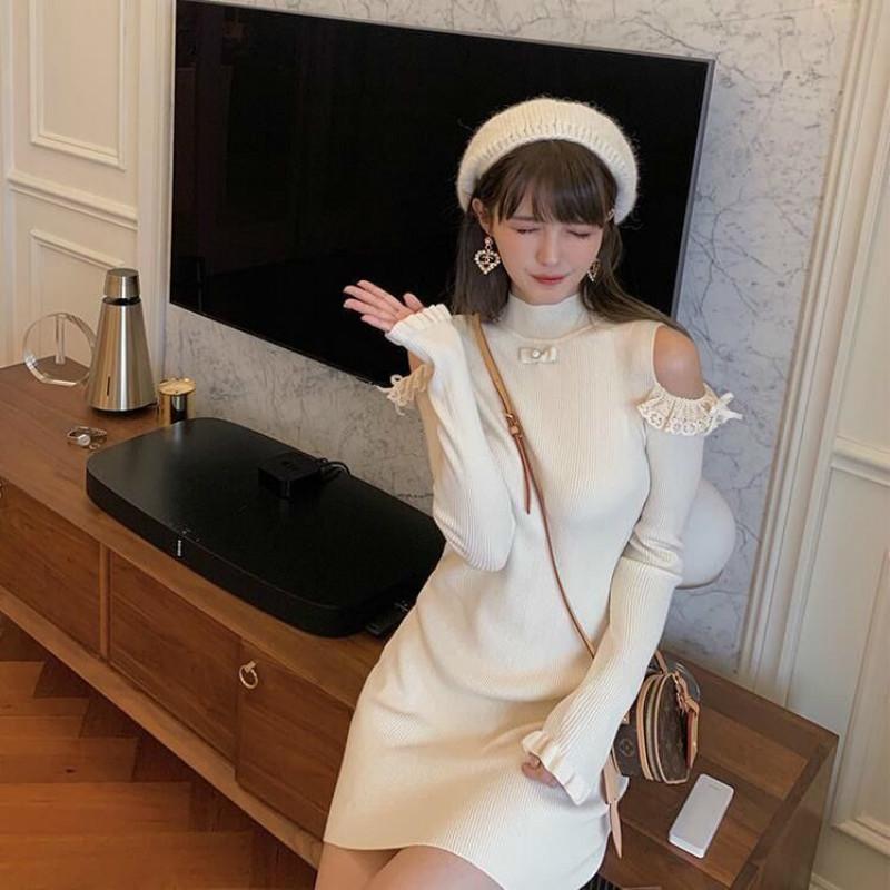 Yeni Kadın 2021 Boyun etrafında Örme Katı Renk Uzun Kollu Kapalı Omuz Moda Elbise Streetwear Elbiseler Y272 K1B2