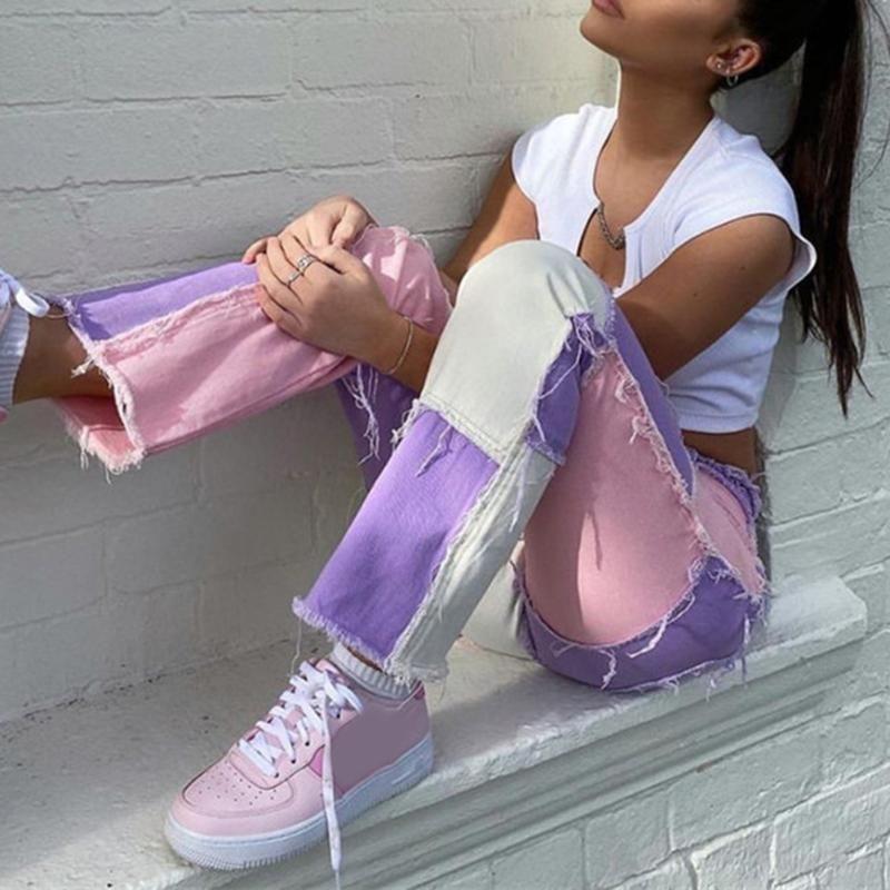 여성 넥타이 염료 인쇄 Pathwork 바지 넓은 다리 느슨한 하라주쿠 미적 90 년대 바지 2020 Y2K 스웨트 팬츠 스트리트 조깅 여성