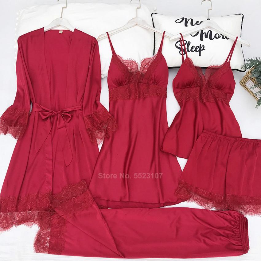 Lace Sexy Pigiama solido Colore Donne in raso di seta smoooth Sleepwear casa usura traspirante confortevole 5pcs Notte set