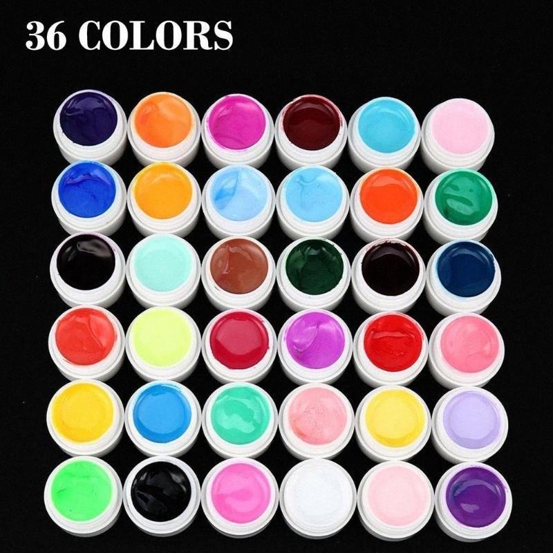Nail art polonais 36 Mix Couleurs Pots Gel UV Builder pur Conseils de manucure bricolage femmes ongles beauté maquillage gel facile à utiliser 1gnq #