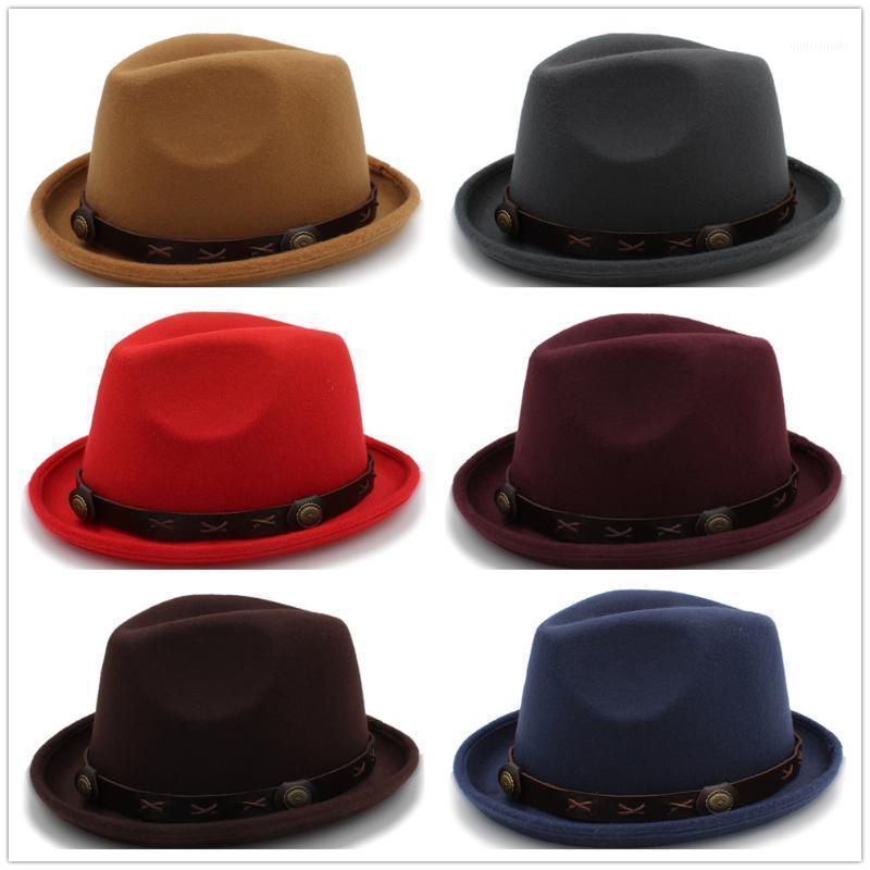 Wide Brim Hats British Wool Jazz Cap Hat For Vintage Autuman Winter Ladies Fedora With Metal Belt Female Hats1