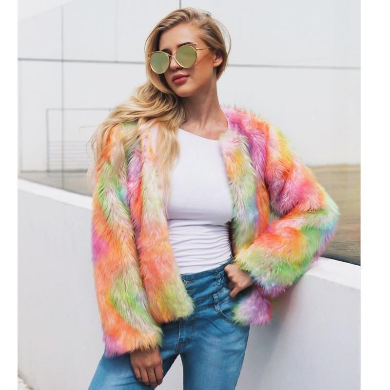 Savabien 2020 Regenbogen-Pelz-Mantel-lange Hülse O Ansatz Furry Luxus Fake Fur-Jacke Festival Overcoat Cardigan Street Weiblich