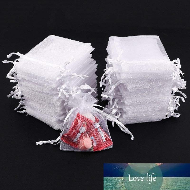 50 pcs bijoux multi-taille sac organza blanc organza groupe poche organza bouquet poche bonbons fête sac d'emballage cadeau de mariage