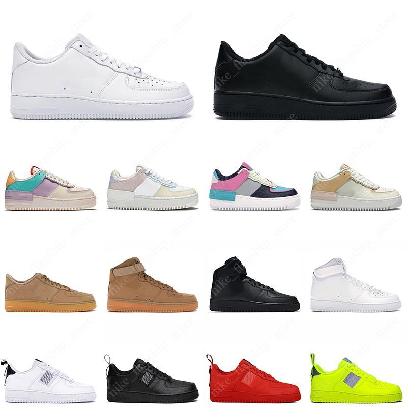Air Force 1 منصة الرجال حذاء كاجوال كلاسيكي منخفض أبيض أسود عالية قطع الكتان النساء أحذية الظل عالية الجودة chaussures رجل مدرب أحذية رياضية