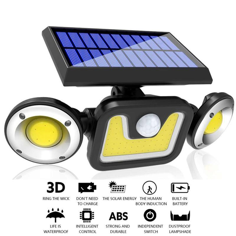 2020 New Solar Lâmpada de parede Motion Sensor LED recarregável Luz Solar Três-cabeça rotativa impermeável ao ar livre Wall Street Lamp