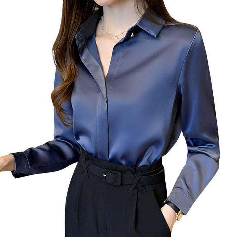 Nouvelle chemise de base Féminine Top Mode Satin 2021 Mousseline Mousseline Femmes Manches longues Simple Automne Casual Solide Vêtements 0877