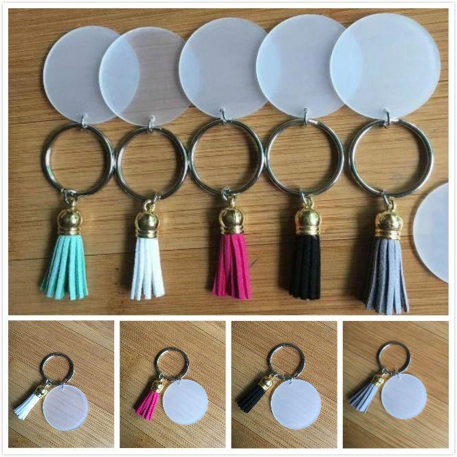7 개 색상 3cm 스웨이드 술 비닐 열쇠 고리 멀티 컬러 사용 가능한 투명 아크릴 디스크 술 체인 빈 디스크를 4CM