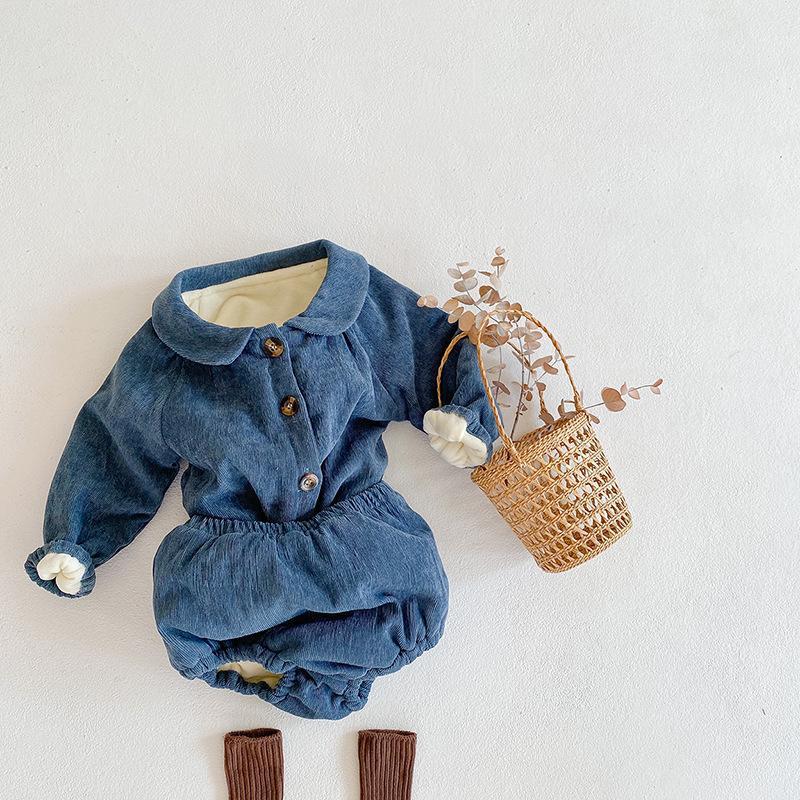 2020 Kış Yeni Bebek Giyim Kalın Pamuk Boys And Girls Bebek Fener Üçgen Pantolon 2 Sıcak Suit 1021 Uzun Kollu Hırka
