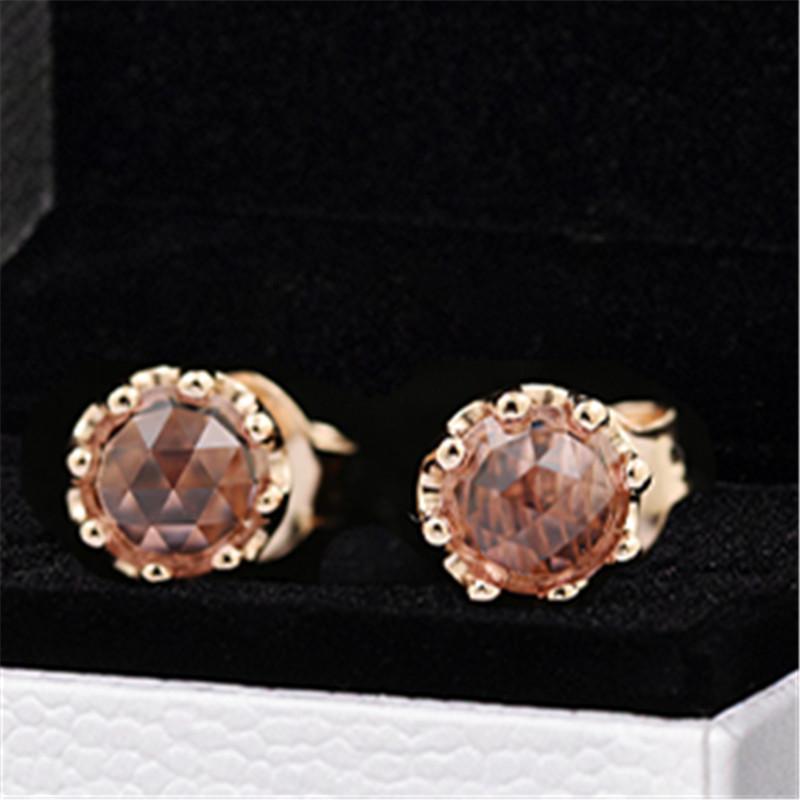 2020 Новый 925 Sterling Silver Pink Игристое Корона Кристалл серег Подходит Европейский Pandora Шарм ювелирные изделия