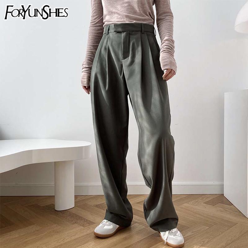 바닥 FORYUNSHES 여성 넓은 다리 담배 정장 바지 가을 팜므 높은 허리 스트레이트 팬츠 캐주얼 오피스 비즈니스 201007