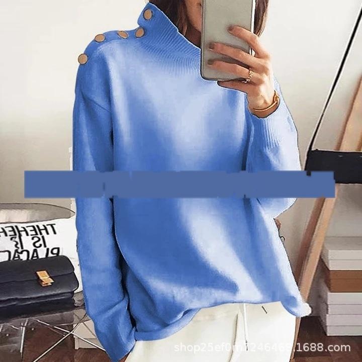 rvVgB Nuovo 2019 primavera e l'autunno girocollo colore solido pulsante sweatert-shirt sweaterloose maglione arredamento T-shirt X delle donne del tasto manica lunga
