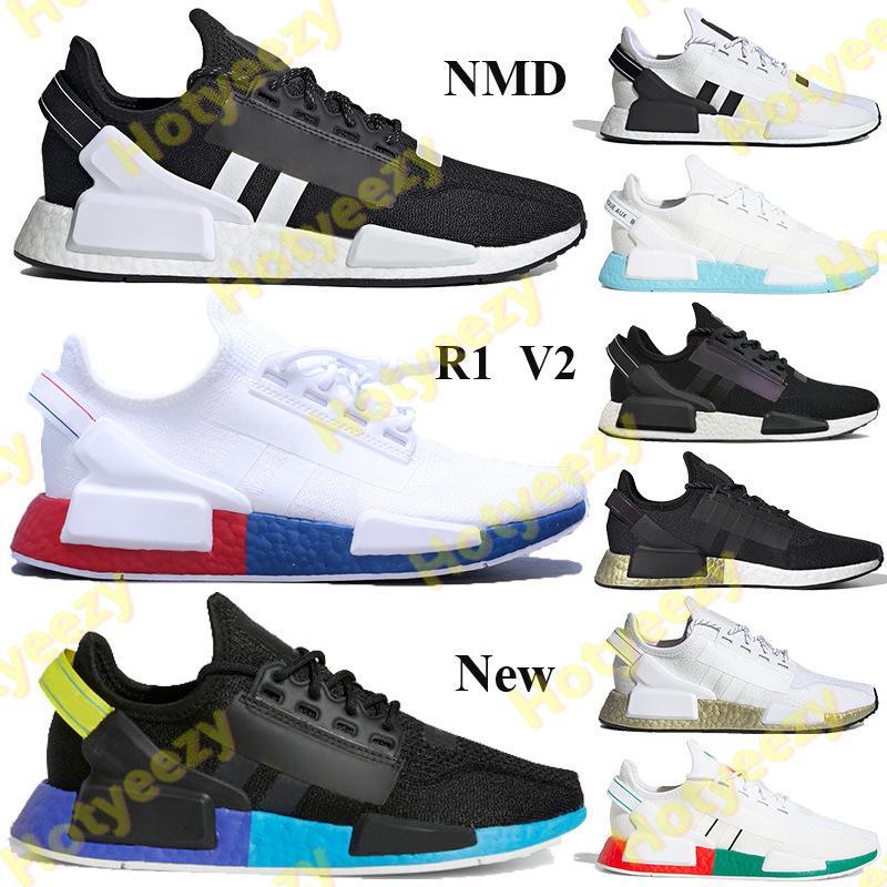 상자 NMD R1 V2 PK 실행 신발은 검정, 흰색 빨강, 파랑, 오렌지 탄소 충격 노란색 남성 여성 스포츠 스니커즈 멕시코 시티 트레이너를 무지개 빛깔의