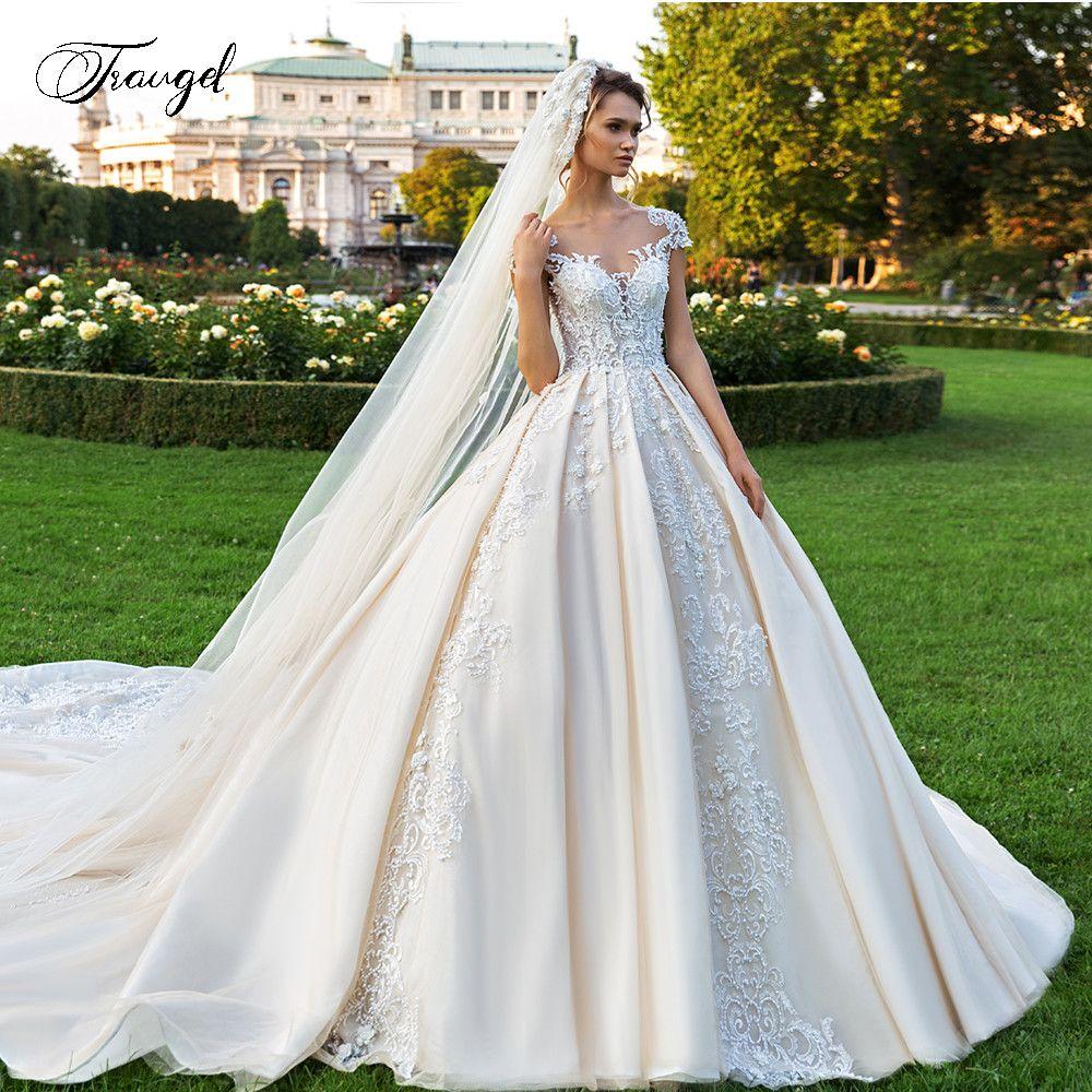 Botón de la boda vestidos de manga corta apliques Traugel Demure Scoop una línea de encaje de novia vestido de la catedral de tren vestido de novia más el tamaño Q1113