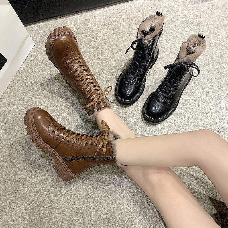 Frauen Schuhe 2020 Mode Black PU Leder Motorrad Stiefel Kurzer Plüsch Knöchelstiefel Winter Warme Runde Zehe Stiefel Weibliche Frauen Schuhe
