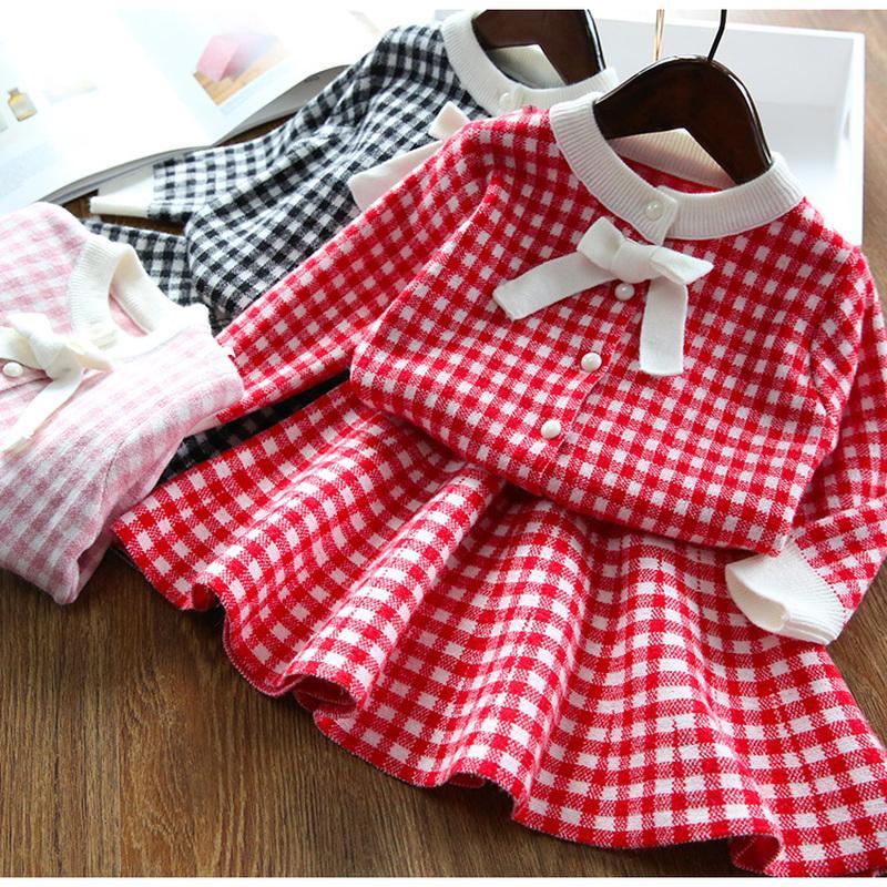 Traje + falda suéter HIPAC 2 PCS del bebé muchachas del otoño invierno de la ropa del algodón para niños Paños niños camisa de punto de 3T 0927