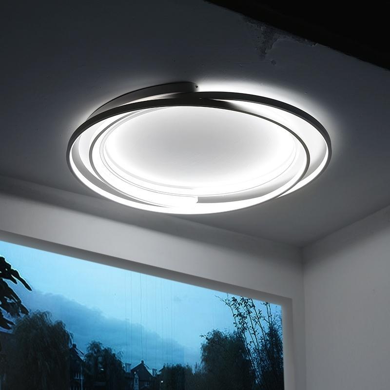 2021 Yeni Moderno Tavan Lambası Odanın LED Çemberi Oluşturma Dekorasyon Ev Demir Yuvarlak Siyah Armatür Tasarım RB4T