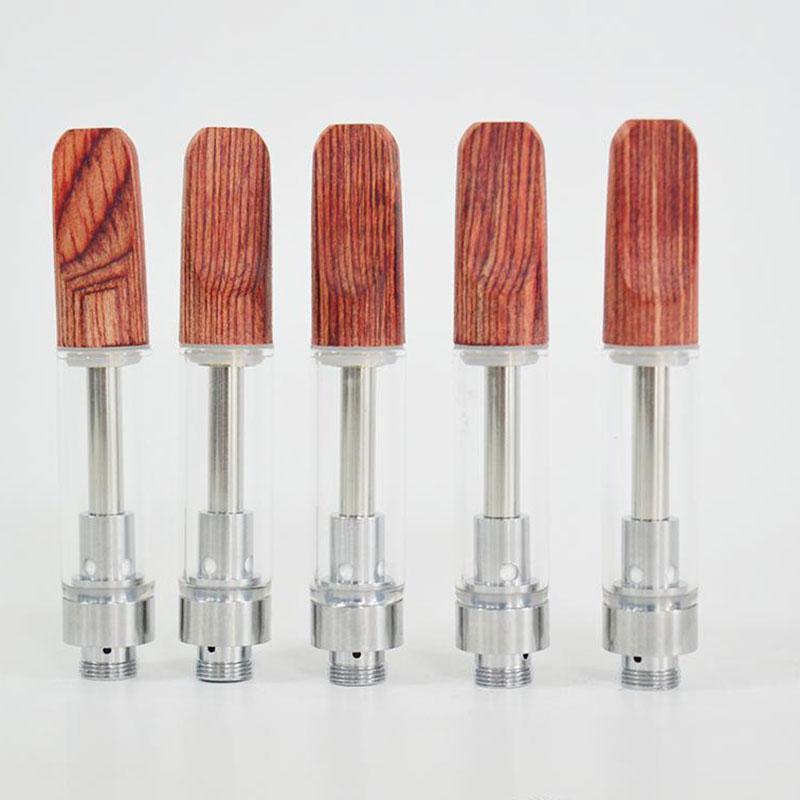 Dabwoods Vape Pen Cartridges 1ml .5ml Glass Tanks Wood Tip Ceramic Cell Coil Empty Vaporizer Pen Thick Oil Cartridge 510 Carts E-Cigarette