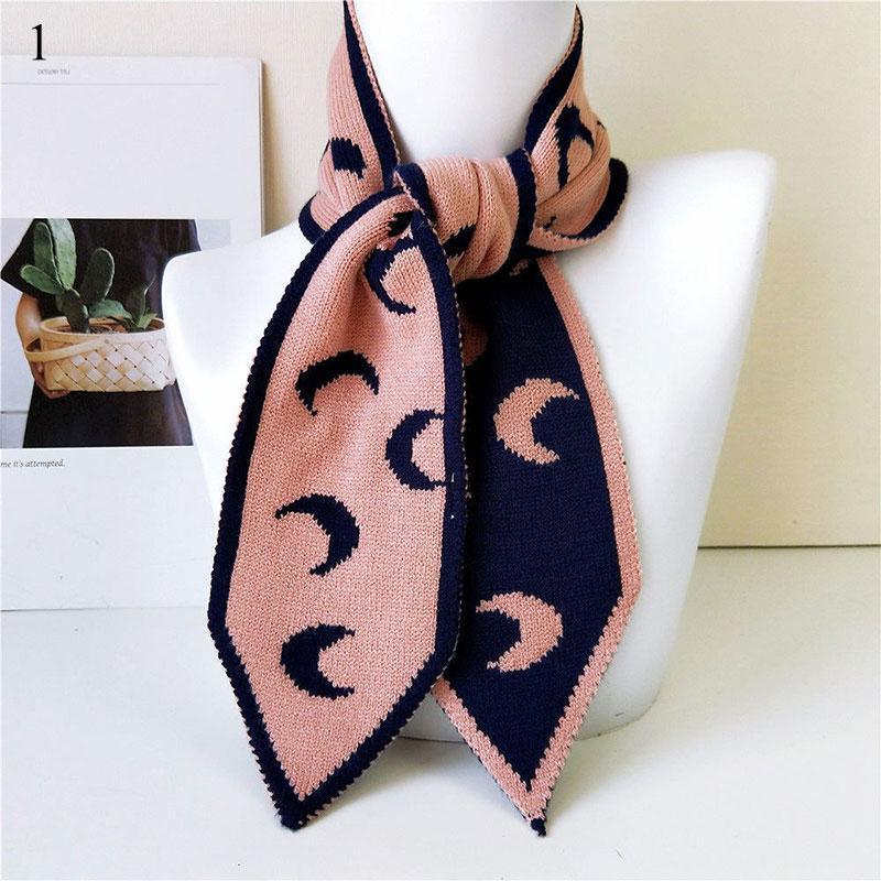 1PCS Pareja bufanda de punto flaco largo del lunar de la luna diseño de las rayas del calentador del cuello de cuello bufandas Mujeres Dulce Invierno Pañuelos