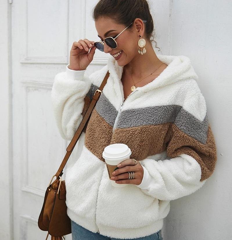 Womens sherpa cardigan patchwork morbido pile maglioni in pile casual camicetta cappotto tasca con cappuccio inverno caldo manica lunga con cerniera felpa giacca giacca