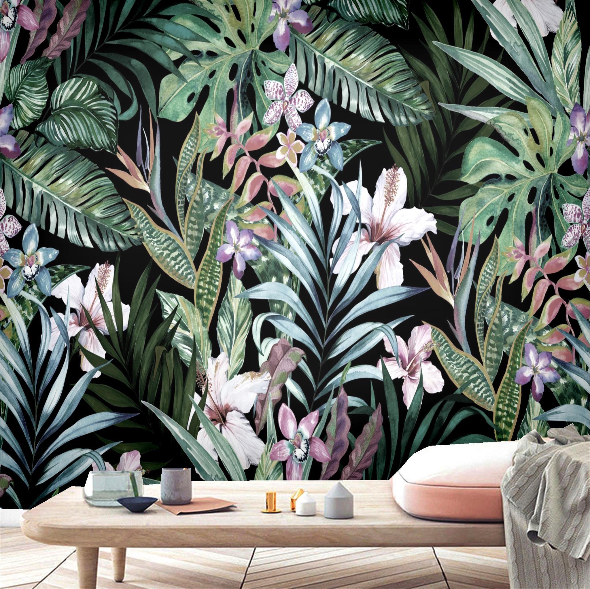 Wallpaper AL-Mulk Custom Wallpaper Mural Self-adhesive Black Background Flower Leaf Forest FQ226 Pastoral Interior Decoration 3D