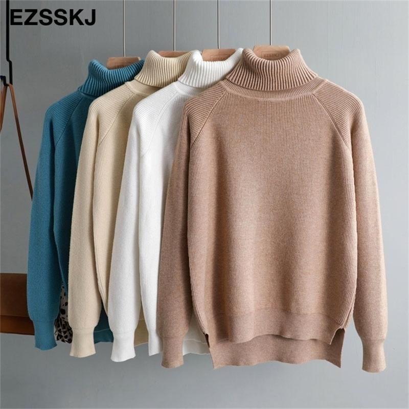 Новый повседневная толстая осень зимняя водолазка негабаритный свитер пуловера женщины теплые шикарные женские свободные вязаные базовые свитеры тянуть Y200910