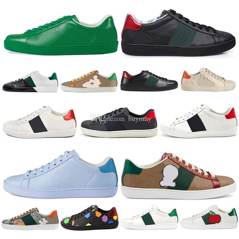 2021 Luxurys Designers Sapatos Homens Mulheres Sneaker Sapatos Casuais Top Quality Snake Chaussures Sneakers Couro Ace Bee Bordado Sapato 36-4 501b #
