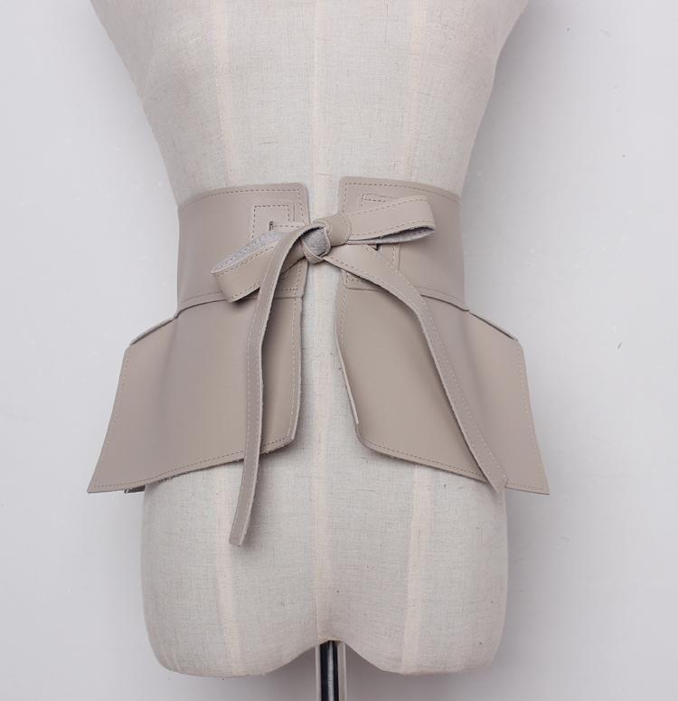 Nueva primavera verano 2020 de cuero de imitación de la moda volantes Peplum pretina de la correa de la cintura de la falda Mujeres Accesorios Tide Todo-fósforo