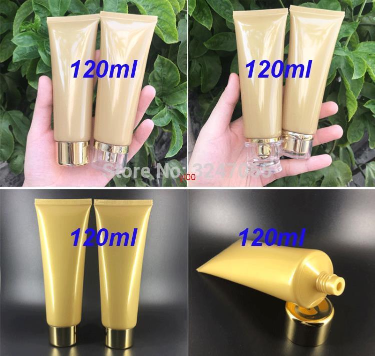 Botella de embalaje suave de alta gama alta de 120 ml de oro, limpiador facial profesional portátil, tubo de compresión, envasado de emulsión cosmética, alta calidad, calidad