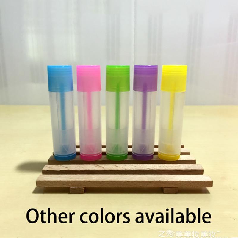 Rosa Púrpura Amarillo Verde Azul 5ml plástico lápiz labial tubo vacío hecho a mano botellas de labios Bálsamo del paquete de envío gratuito