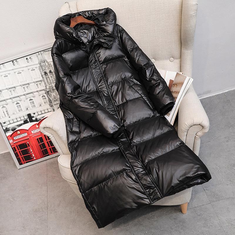 Зимние длинные пальто дураки женские толстые капюшона зима молния плюс размер ветрозащитный снег уныние 90% белая утка вниз тепловая куртка T200107
