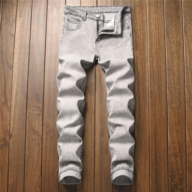 Boş Moda Erkek Stretch İnce Düz Bacak Jeans Pantolon Klasik Stil Erkek Düzenli Siyah Gri Işık Yıkama Denim pantolonlar Soğuk