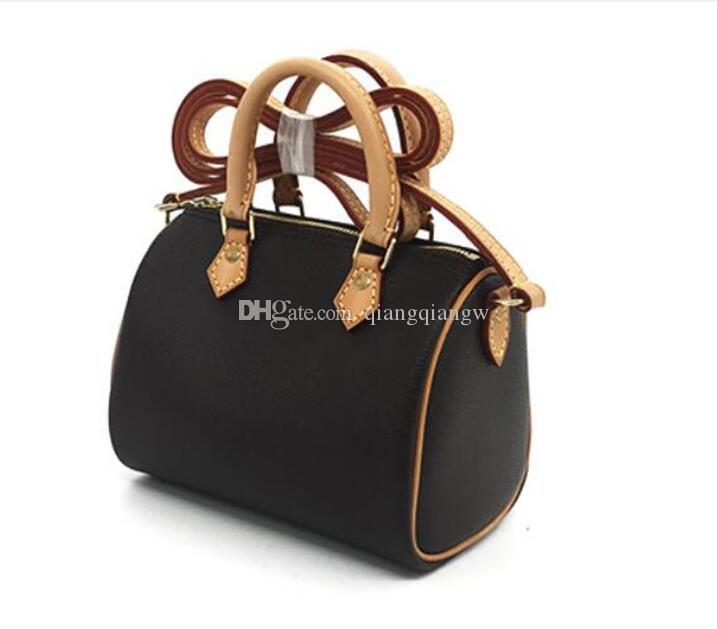 Crossbody Nano Mini-Leder Luxus Design Schulter Echt Handtasche Beste Qualität Speedy Hot Black Verkauf Frauen Mode 16cm Twcee