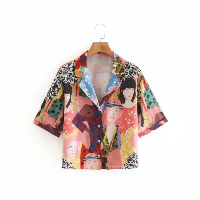 Vintage tarzı Renk baskı Kadın Bluz Şık Kadın terzi yaka Kısa Gevşek Gömlek 2020 Yeni Casual S7351 A1112 Tops manşonlu