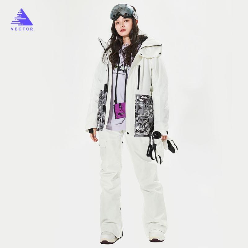 VECTOR Brand Men Women Ski Pants Ski Suit Jacket Winter Warm Windproof Waterproof Outdoor Sports Snowboard Coat Trousers