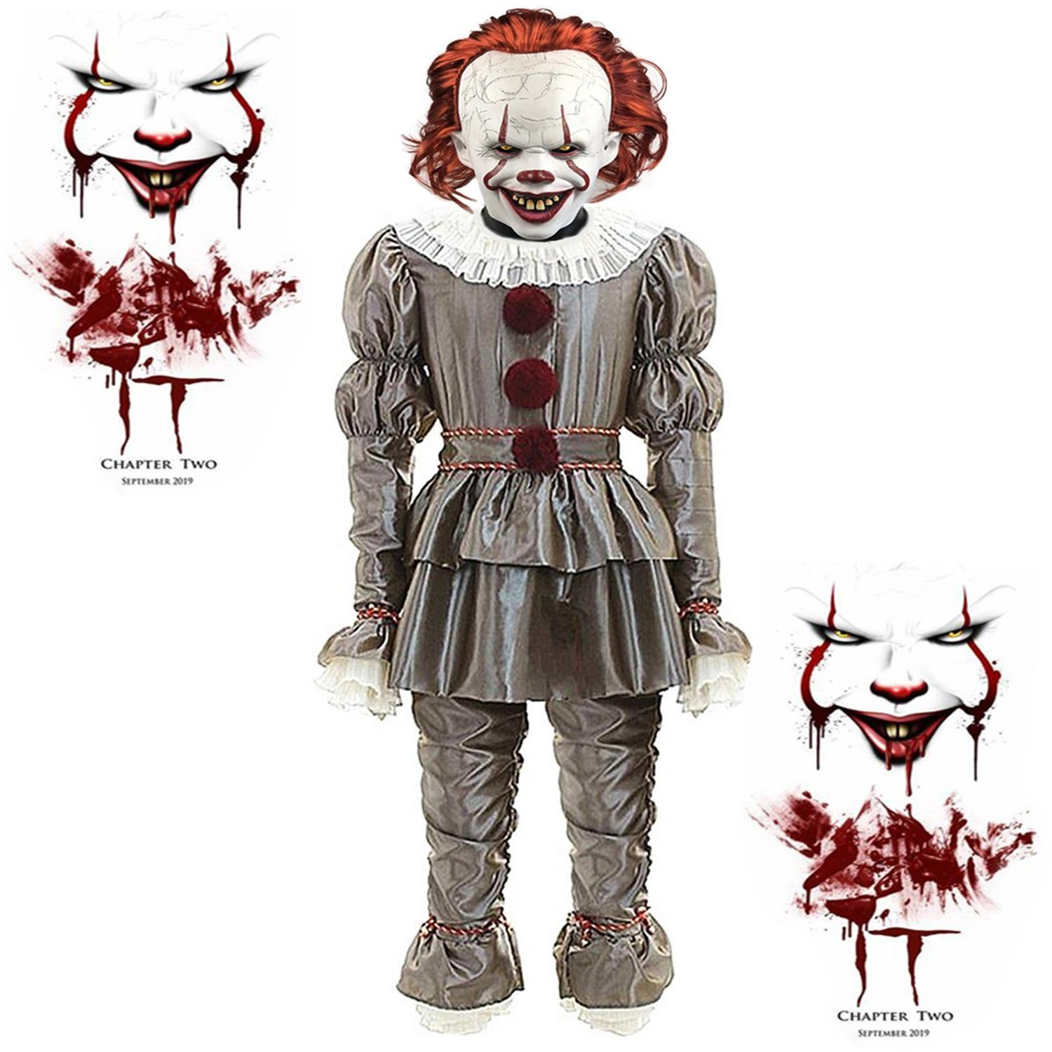 Men's IT Movie Chapter 2 Adult Pennywise Deluxe Costume Tattered Pennywise Costume for Adults Includes a Clown Suit Mask and Collar