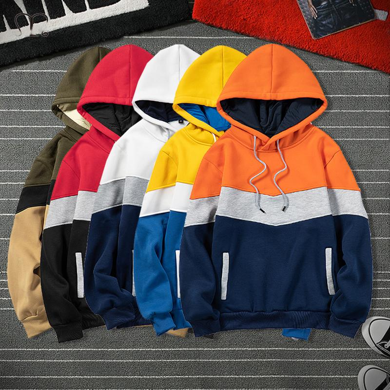 Mode Marque Hommes Hoodies 2020 Automne Hiver chaud Toison Casual Male Hoodie Sweat Hommes Hauts streetwear Patchwork Big Size