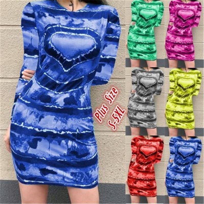 Femmes Love Print Robe De Mode Tendance longue Manches rondes Jupe courte Jupe courte Designer Femme Printemps Nouveaux fesses décontractées