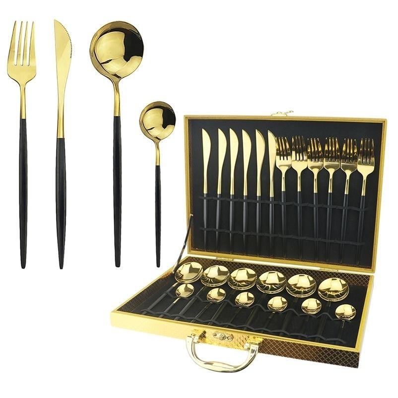 24 шт. Черные золотые растительные приборы набор ножей вилка ложка ужин набор из нержавеющей стали западные столовые приборы набор посуда серебро с подарочной коробкой 201017
