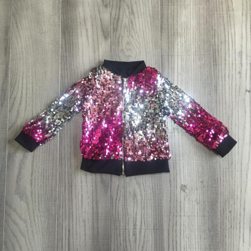 Chaquetas Girlymax Fall / Winter Trajes Bebé niñas Violeta Pink Corbata Teñido Lentejuelas con cremallera Abrigo Cotton Ropa Niños Top Boutique1