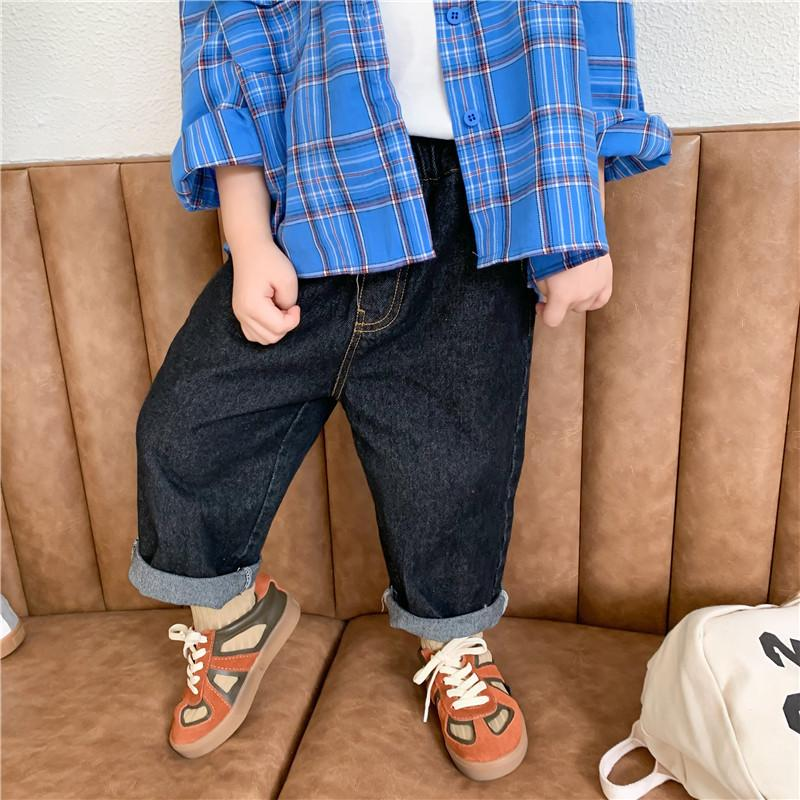 Autumn Kids Children Casual All-Match Jeans 2020 Boys Girls Soft Solid Color Foot Denim Pantalones 1-7Y LJ201127