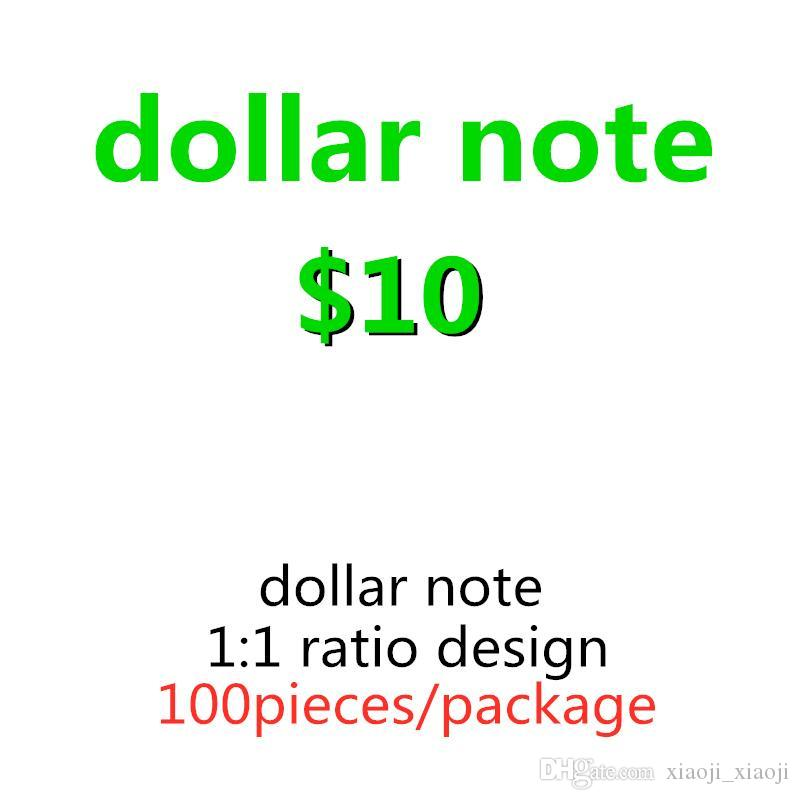 10 Dollar Toy Pop Money Kids Film Billets Family Money Banknote 100pcs / Pack US Faux Copie réaliste La plupart des journaux de papier 04 Benmf