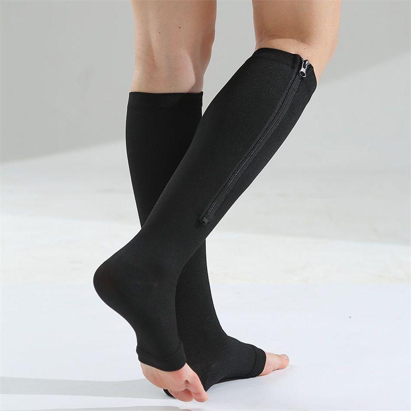 Cylindre moyen fermeture à glissière élastique Chaussettes en forme de mouvement Bas en forme de jambe serrée Chaussette de compression de jambe chaude ouverte TOE UNISEXE 7 5FM O2