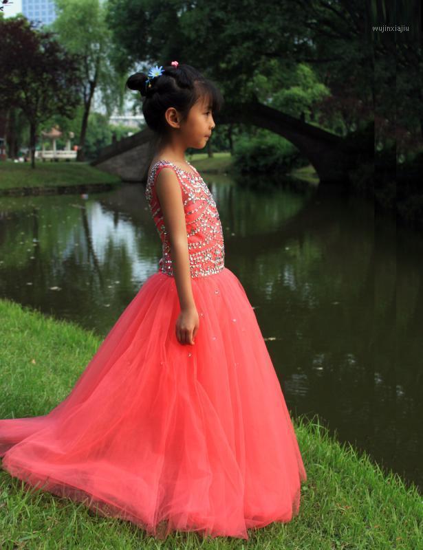 Kızın Elbiseleri Yüksek Kalite Sevimli Fuşya Çiçek Kız Elbise Prenses Boncuklu Kristal Parti Kupası Kek Genç Güzel Çocuk Kraliçe Kızın PAGEAN