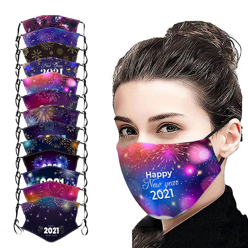2021 Yılbaşı Pamuk Maskeler Yıkanabilir Yetişkin Çocuk Pamuk Maskeler Toz geçirmez Yıkanabilir Kumaş Baskılı Yüz Maskeleri