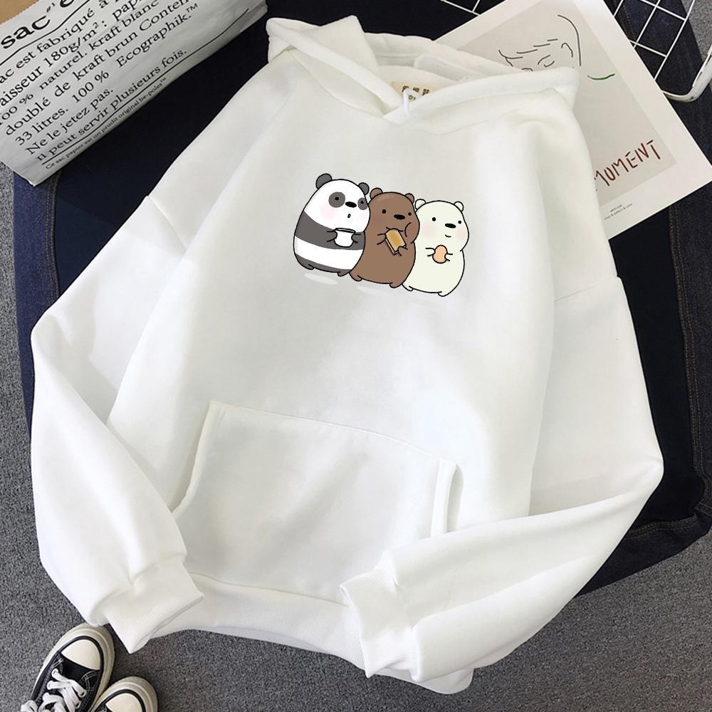 Komik Üç Ayı Moda Grafik Baskı Kpop Kapüşonlular Kadınlar Streetwear Harajuku Sweatshirt Büyük Boy Hoodie Yumuşak Kız Kawaii Isınma