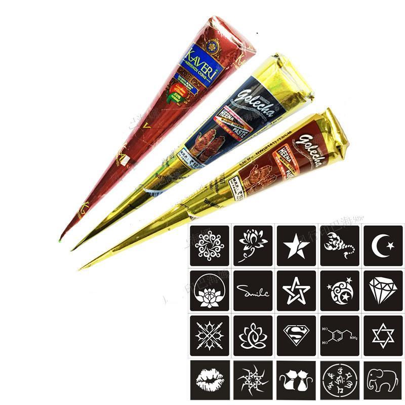 문신 메이크업 세트 인도 헤나 문신 아트 임시 문신 웨딩 드레스 도구 DIY 임시 그리기 바디 아트 + 스티커 세트를 붙여 넣기