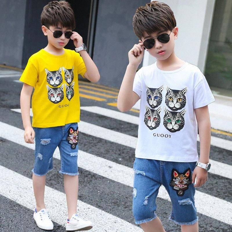 Cat Cartoon summer Stampa ragazzi copre gli insiemi di moda ragazzo adolescente vestiti stabiliti dei capretti Tuta dei bambini Short Jeans Abiti 4 8 12 14 e6jo #