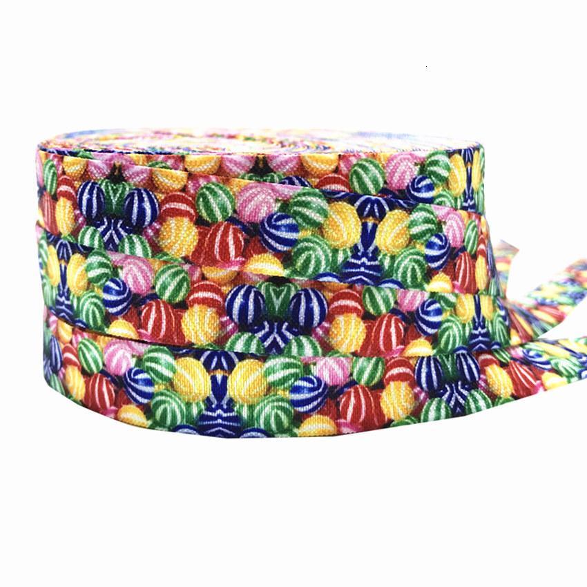 """De alta calidad de impresión colorida del caramelo FOE pliega elástico 5/8"""" Arco iris de la cinta elástica para los accesorios del pelo elástico del lazo del pelo 10Y"""